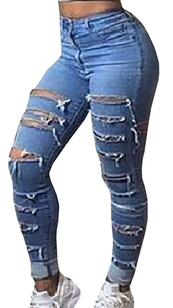 Fashion Slim Pencil Pants Jeans Blue