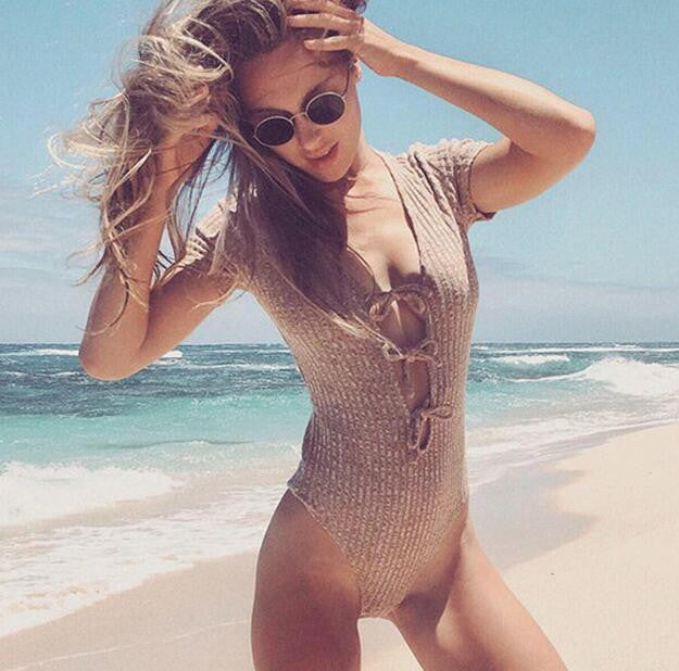 Sexy Deep V Collar Solid Color Vest Rompers Jumpsuits