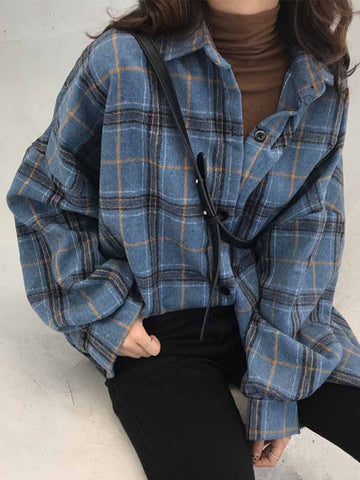 Retro Loose Plaid Cardigan Shirt