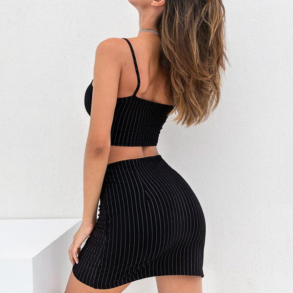 Sexy Women Sling Vest Two-Piece Skirt