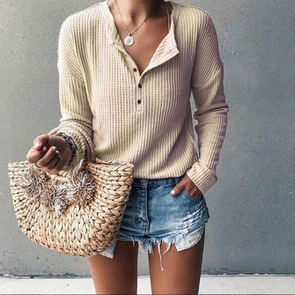 Fashion Button Long Sleeve Pure Color T-Shirt Crop Top