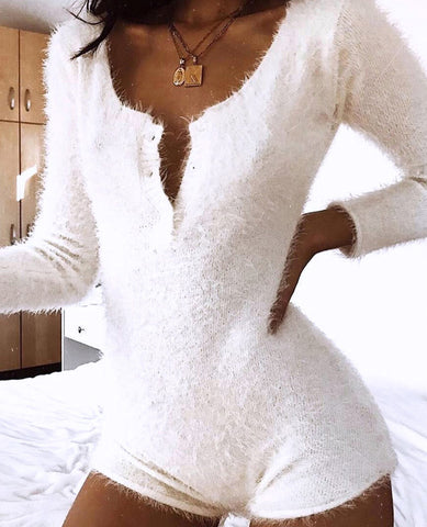 Fashion Plush Button Jumpsuit