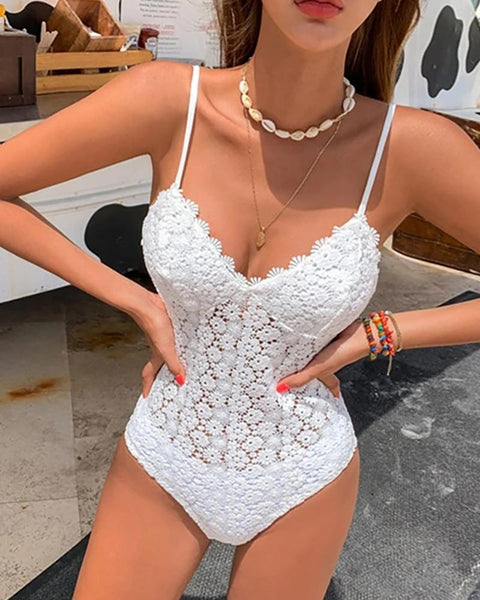 Floral Embroidery One Piece Swimsuit