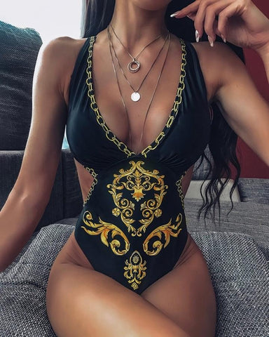 Print V-neck One Piece Swimsuit