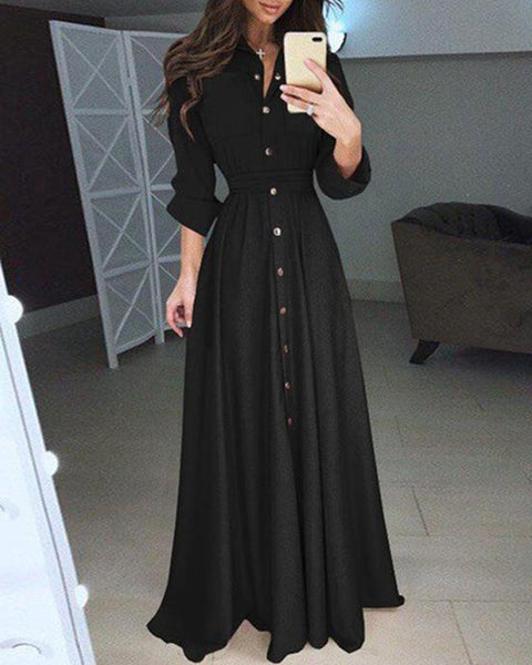 Snap Button Long Dress