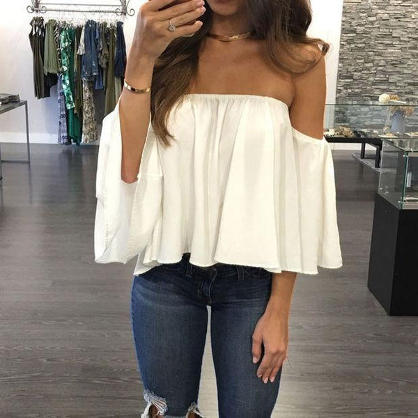 SEXY OFF SHOULDER CAMISAS MUJER HALF SLEEVE LADIES TOPS