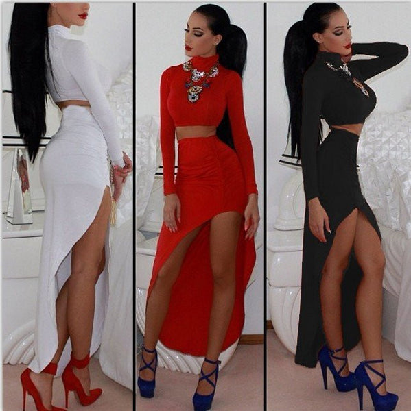 FASHION LONG-SLEEVED TWO-PIECE DRESS