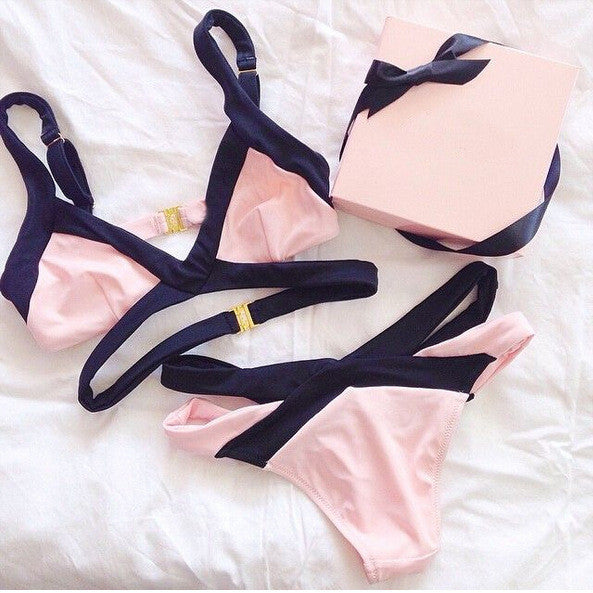 SOLID COLOR SPELL COLOR BIKINI SWIMSUIT