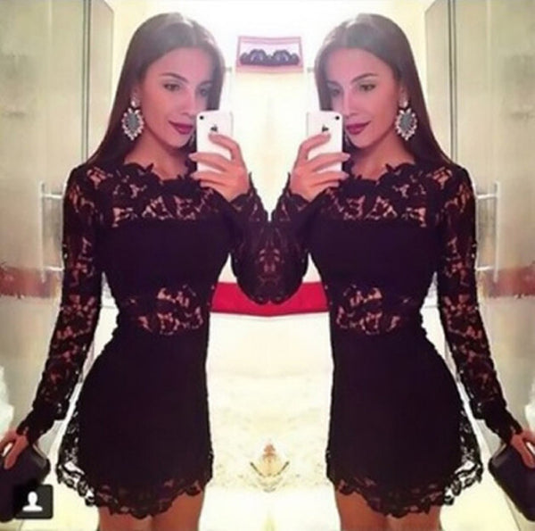 SEXY LONG SLEEVE LACE HIP DRESS
