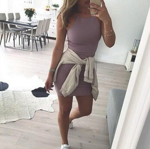 SEXY HANGING NECK SLEEVELESS DRESS