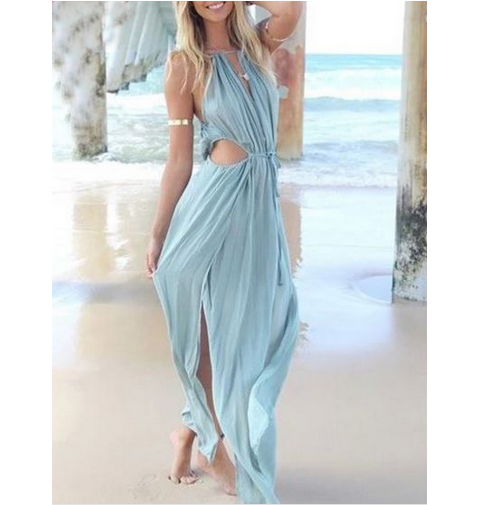 FASHION SEXY SLEEVELESS BEACH DRESS