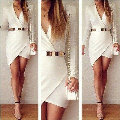 WHITE V NECK ASYMMETRICAL HEM MINI DRESS