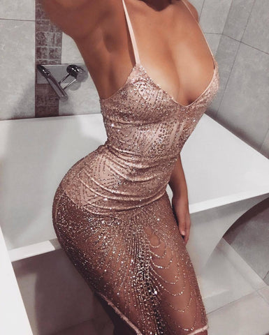 V-Neck Sling Sexy Sequin Dress