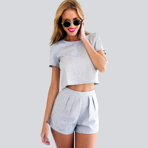 Fashion Sexy Short Sleeve Gray Two-Piece