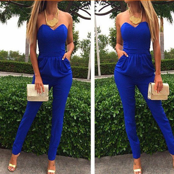 DESIGN BLUE COTTON BLEND ONE-PIECE SKINNY JUMPSUIT