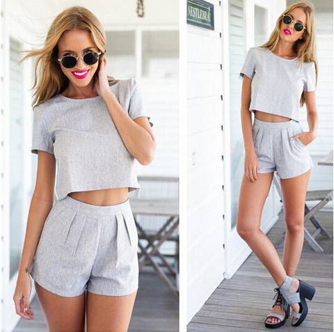 SEXY SHORT SLEEVE GRAY TWO-PIECE DRESS