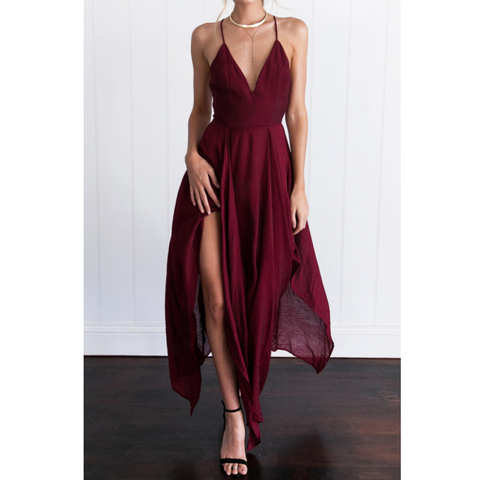 Solid Color V-Neck Sleeveless Dress