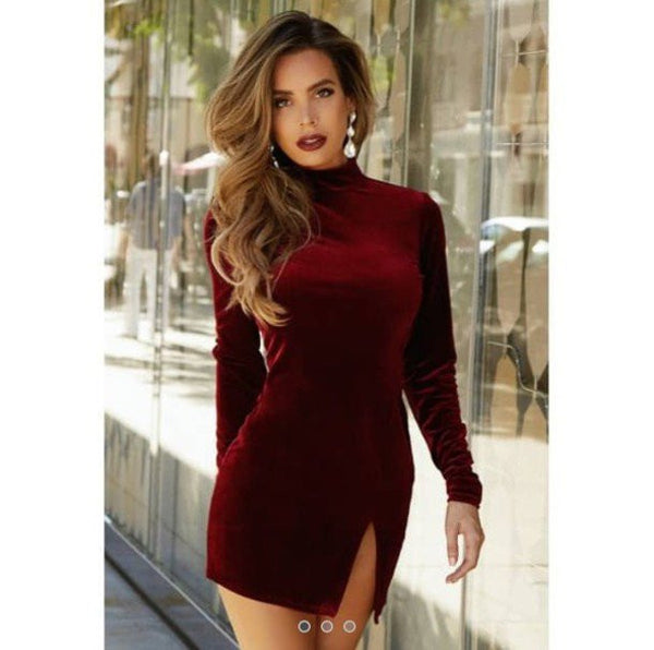 RETRO HIGH-NECKED LONG-SLEEVED DRESS