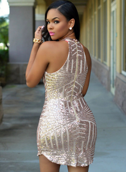 Solid Color High-Necked Sleeveless Zipper Sequined Dress