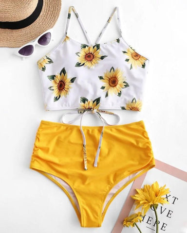 Floral Print High Waist Swimsuit Bikini Set