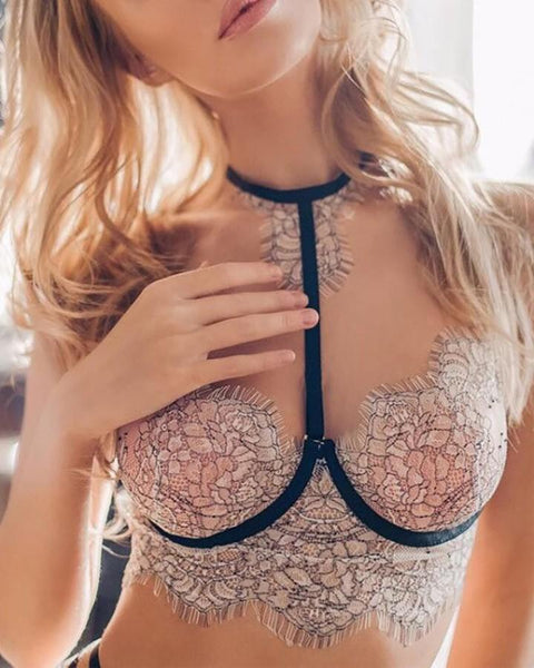 Perspective Lace Cutout Bra Set