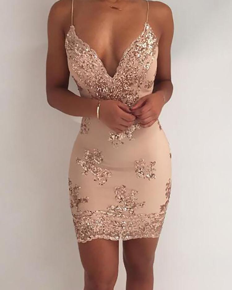 V-neck Sleeveless Bodycon Party Dress