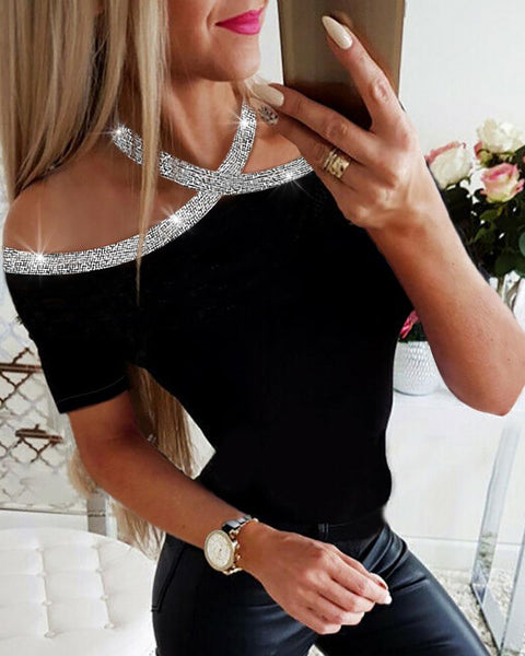 Dew Shoulder Short Sleeve Blouse Top