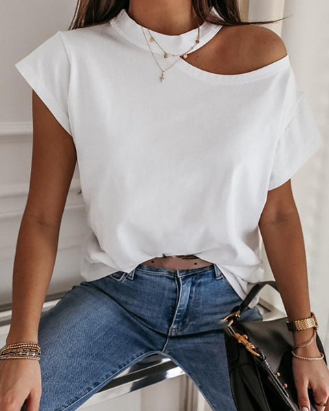 Solid Color Short Sleeve Casual T-shirt Top