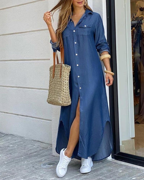 Denim Button Slit Long Dress