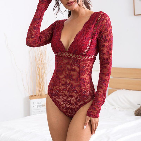 Sexy Lace Perspective Deep V-neck Jumpsuit