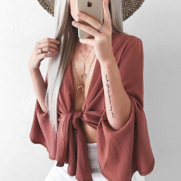 Sexy Flared Sleeve Loose T-Shirt Top