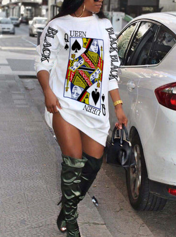 Trendy Printed Loose Long Sleeve Dress