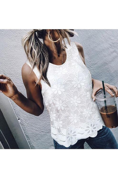 Round Neck Sleeveless Lace Shirt Top