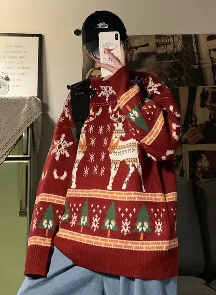 Unisex Loose Knit Reindeer Sweater