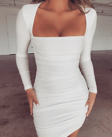Backless Long Sleeve Package Hip Bodycon Dress
