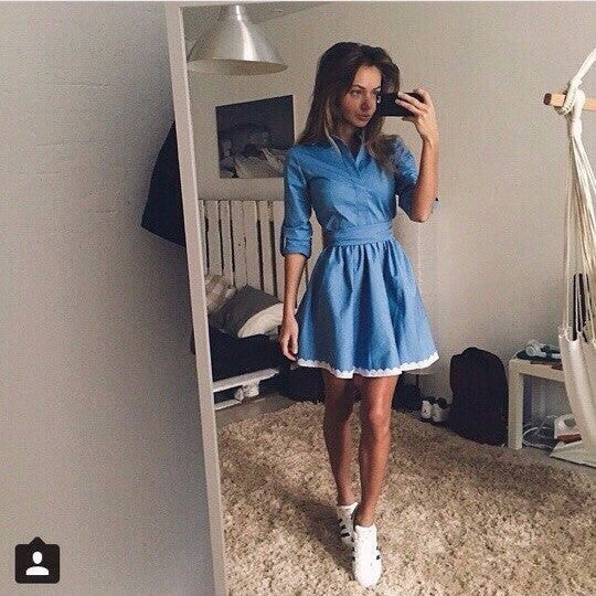 Fashion Blue Mini Dress