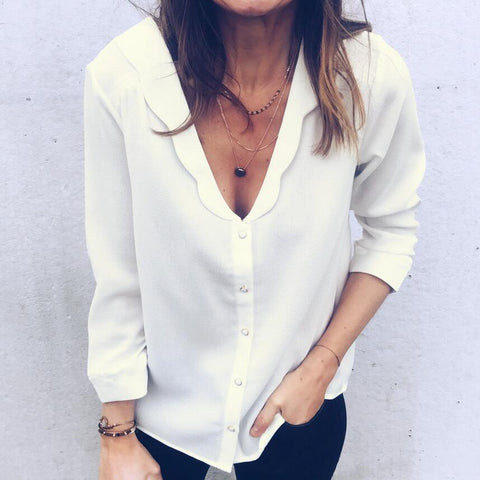 Sexy V-Neck Solid Color White Shirt Crop Top