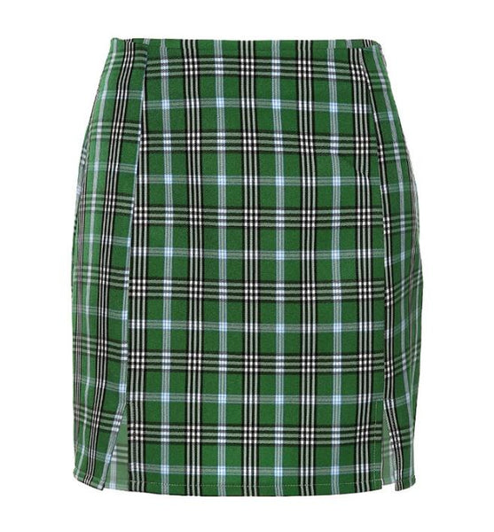 High Waist Plaid Print Skirt