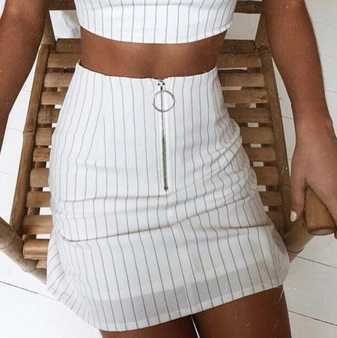 Fashion Womens Striped Zipper Skirt