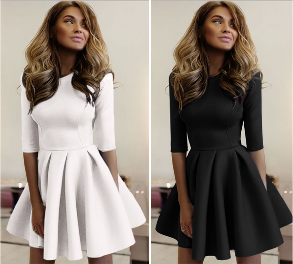 Design Round Neck High Waist Dress