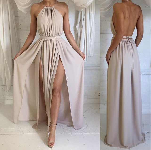 SLEEVELESS BACKLESS DRESS