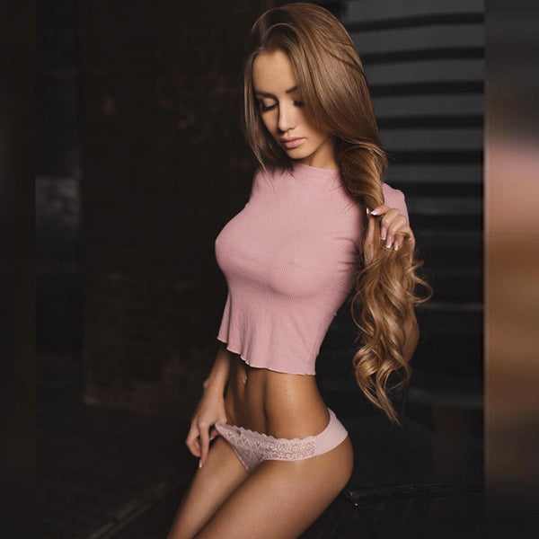Sexy Short Sleeve Solid Shirt Top