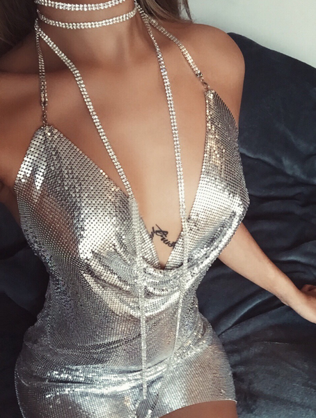 Sexy sequined low-cut dress