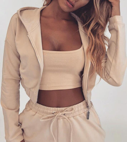 Fashion Womens Tops Hooded Cardigan Trousers Two-piece Suit
