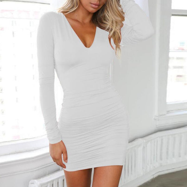 V-Neck Sexy Backless Bandage Pack Hip Dress
