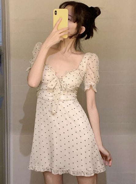 V-neck Chiffon Short Sleeve Dress