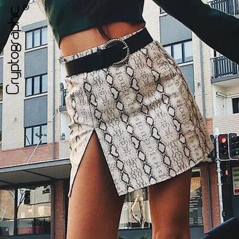 Women Fashion Print Snakeskin Slit Skirt