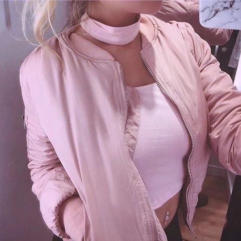 SOLID COLOR LONG-SLEEVED ZIPPER JACKET