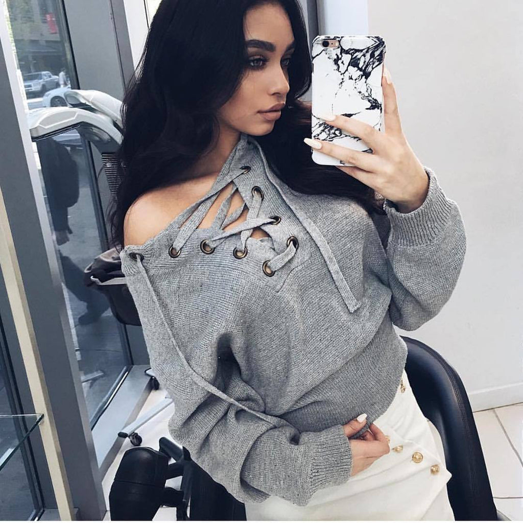 Sexy V-Neck Long Sleeve Knit Sweater