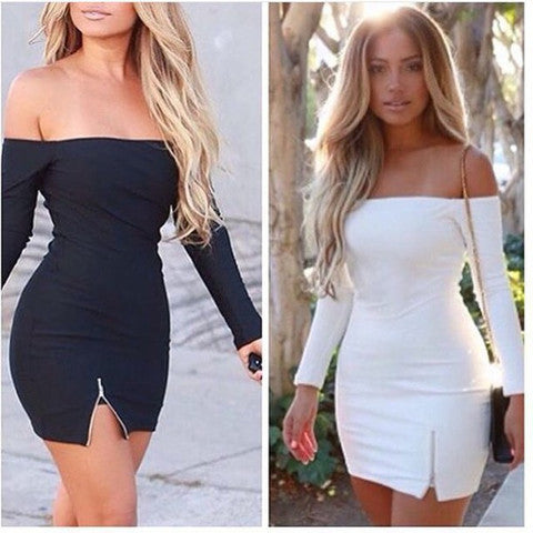 LONG-SLEEVED ZIPPER DRESS